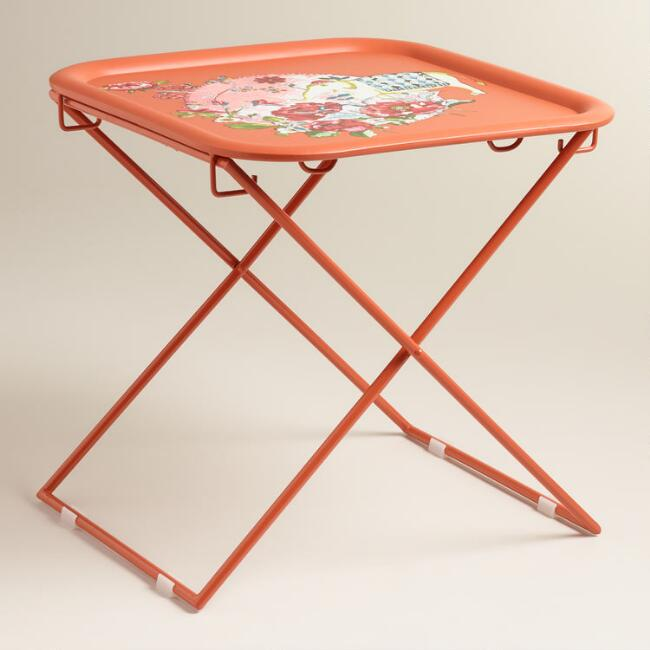 Orange Square Metal Accent Table