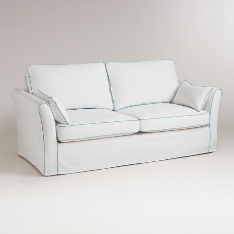 White And Blue Luxe Sofa Slipcover Previous V7 V1