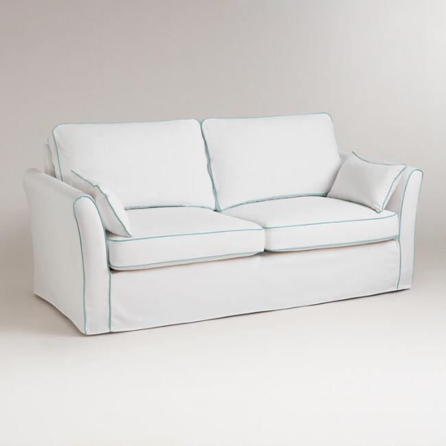 White and Blue Luxe Sofa Slipcover - White And Blue Luxe Sofa Slipcover World Market