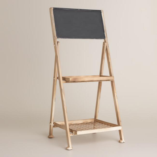 Metal Plant Stand with Chalkboard Decor