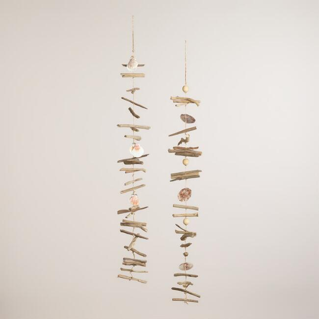 Driftwood and Capiz Hanging Decor, Set of 2