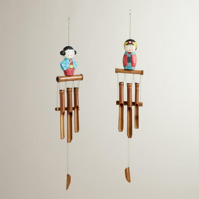 Wood Kokeshi Doll Wind Chimes, Set of 2