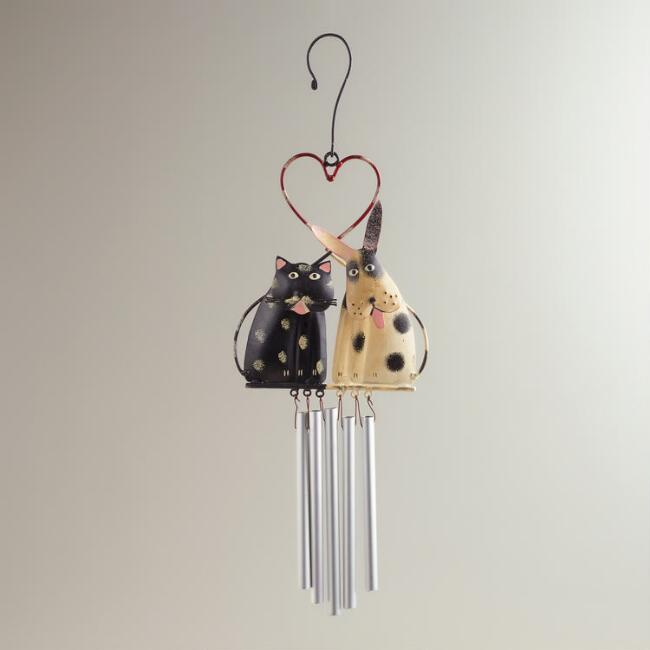 Metal Dog and Cat in Love Wind Chime