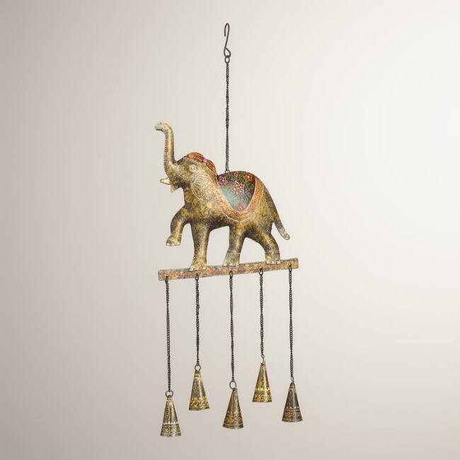 Metal Elephant with Bells Wind Chime