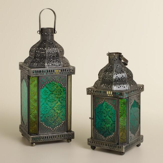 Cool Sabita Embossed Glass Tabletop Lanterns