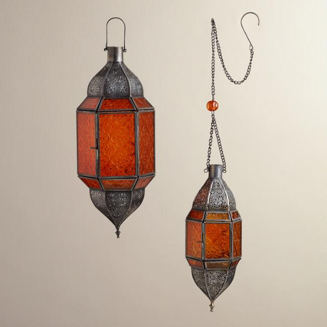 Orange Sabita Embossed Glass Hanging Lanterns
