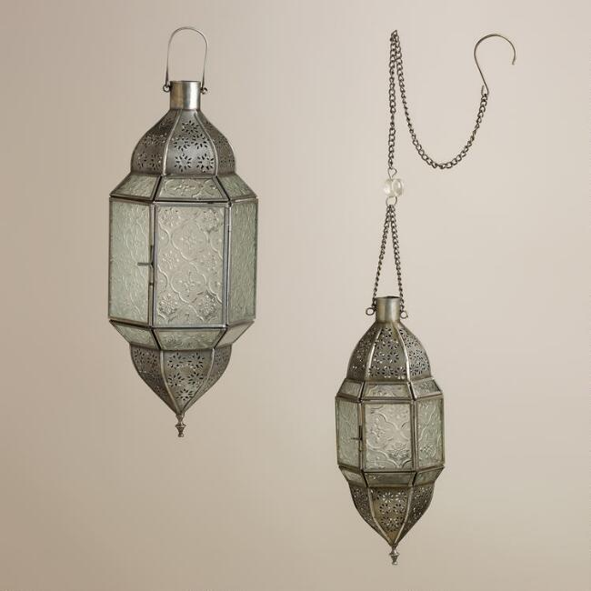 Clear Sabita Embossed Glass Hanging Lanterns