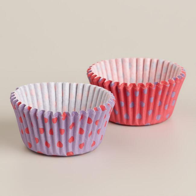 Pink and Lavender Dots Mini Cupcake Liners, 75-Count