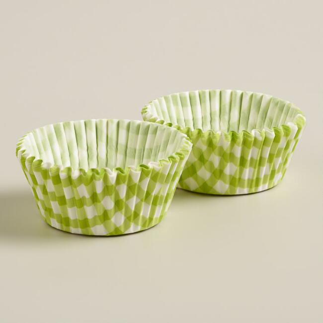 Green Gingham Cupcake Liners, 50-Count