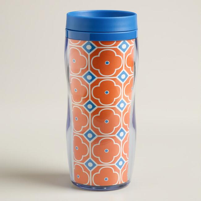 Orange Geo Print Insulated Tumbler