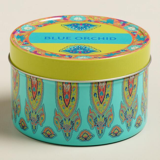 Blue Orchid Maria Tin Candle