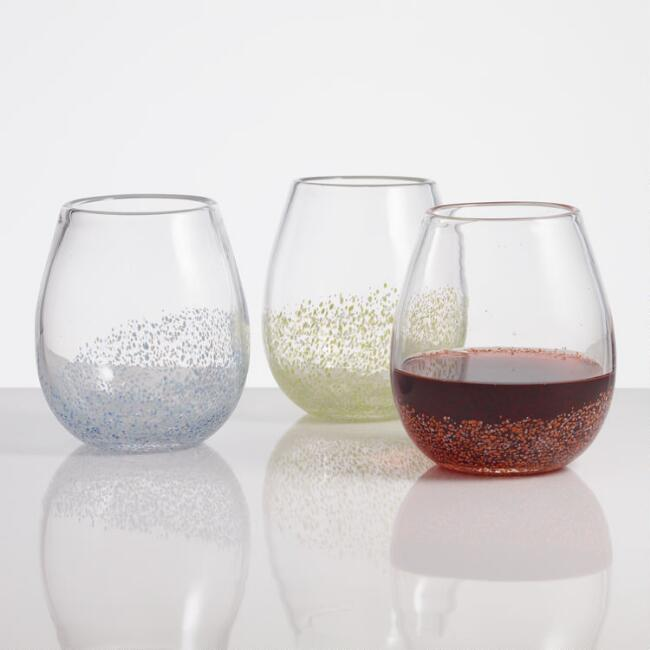 Confetti Stemless Wine Glasses