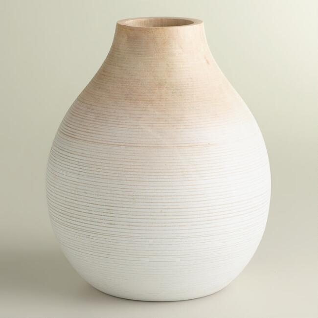 Short Round White Ombre Wood Vase World Market