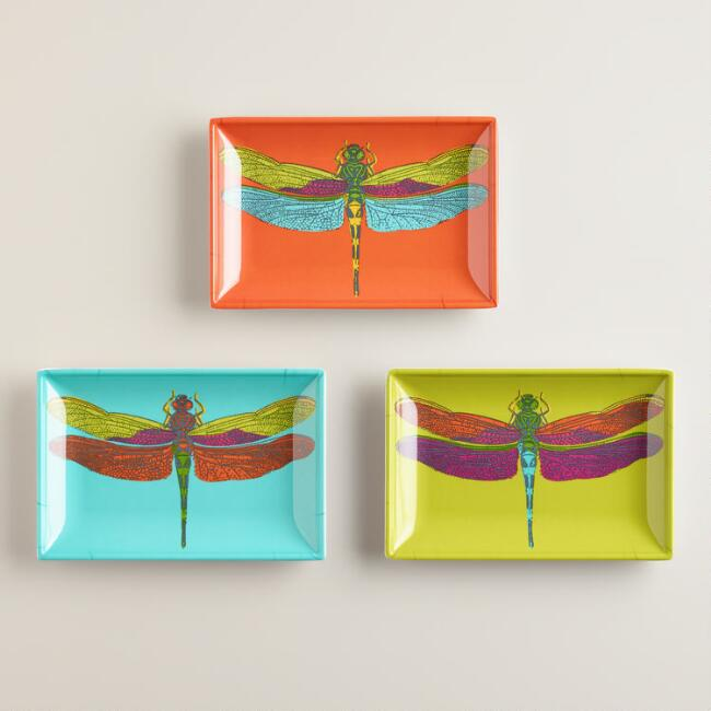 Dragonfly Appetizer Plates, Set of 3