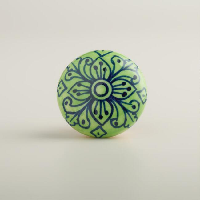 Green and Navy Knobs, Set of 2