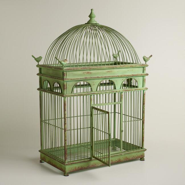 Green Antique Iron Birdcage