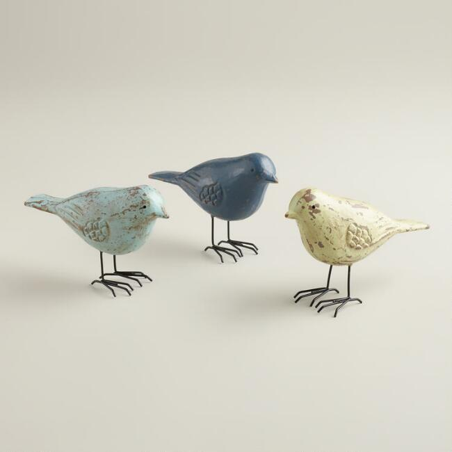 Wooden Birds with Wire Feet, Set of 3