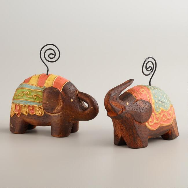 Painted Elephant Photo Holders, Set of 2