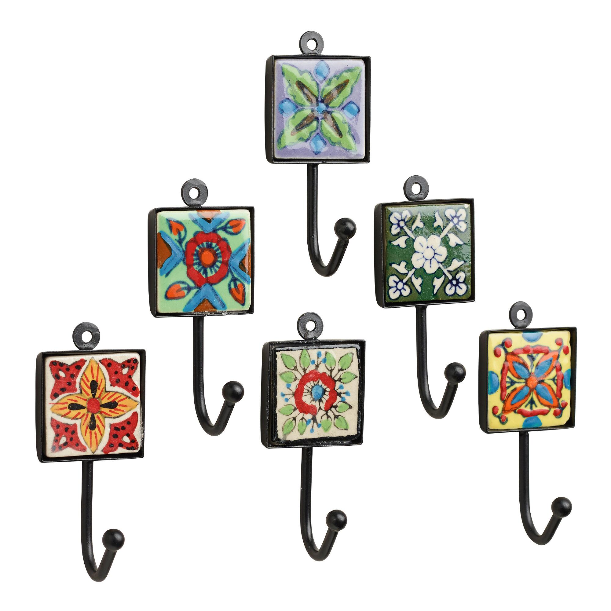 Knobs wall hooks and hanging hardware world market painted square tile hooks set of 6 amipublicfo Image collections