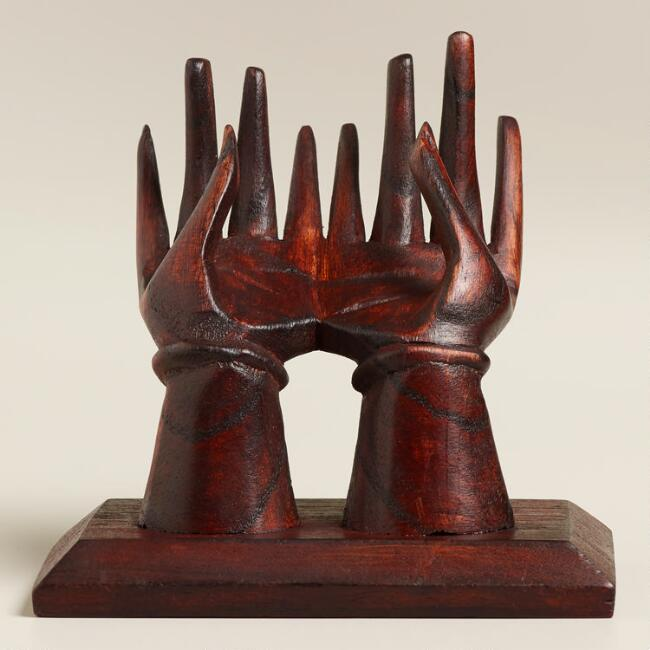 Wooden Hands on a Stand Cardholder