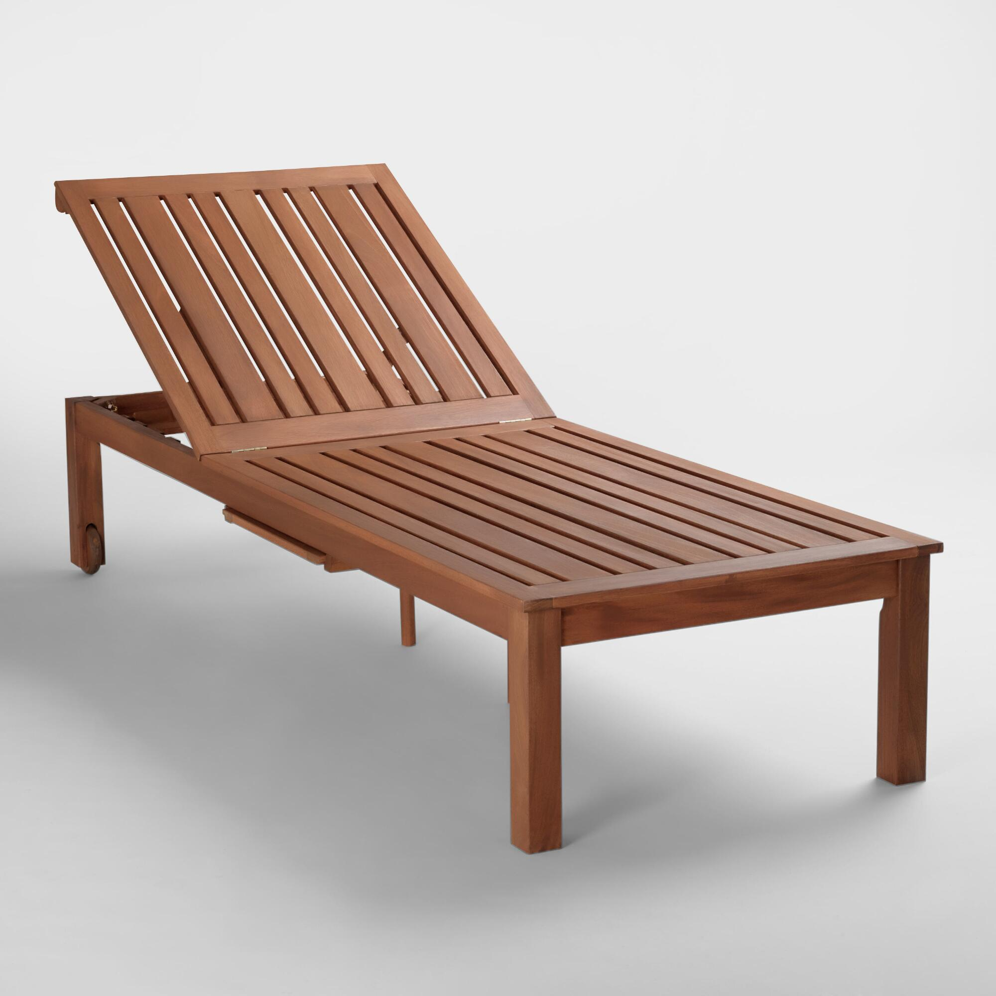 Outdoor wooden lounge chairs - Wood St Martin Chaise Lounger