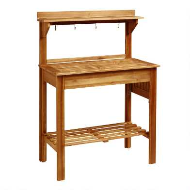 Natural Wood Outdoor Potting Bench