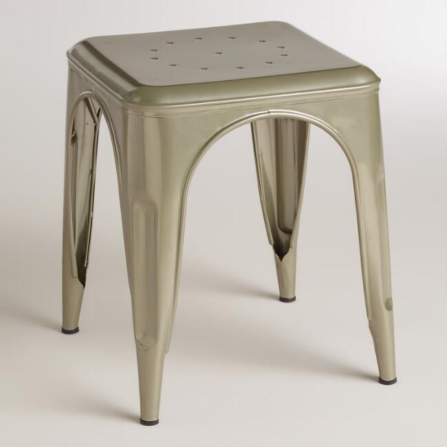 Gunmetal Cargo Stools, Set of 2