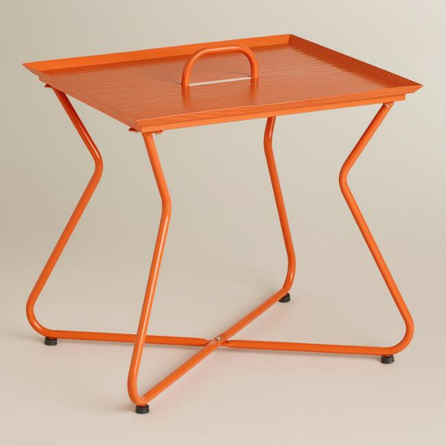 Orange Rectangular Metal Tray Table