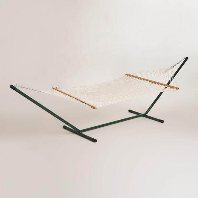 Rope Hammock and Metal Stand