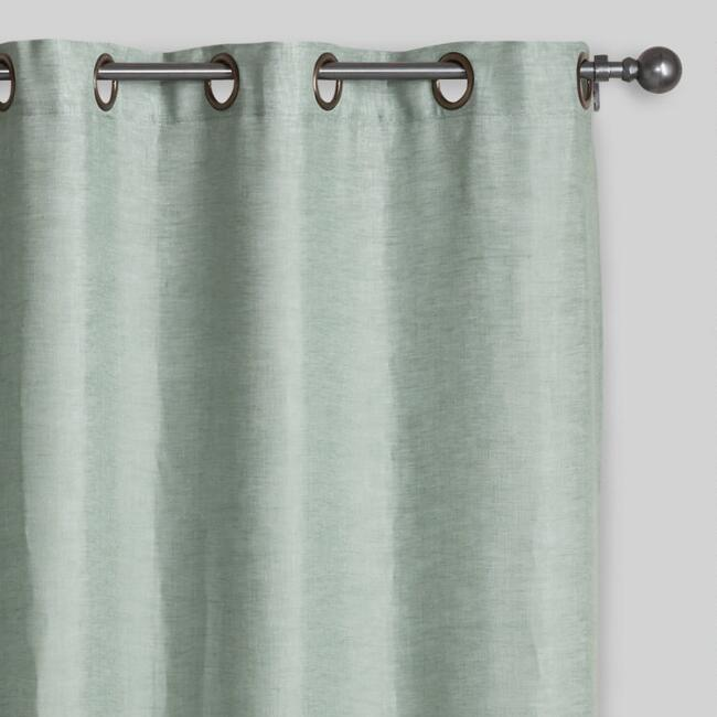 Aqua Linen Grommet Top Curtains, Set of 2