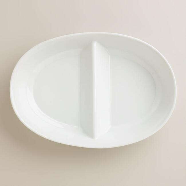 White Oval Divided Serving Bowl