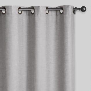 Slate Gray Linen Grommet Top Curtains Set Of 2
