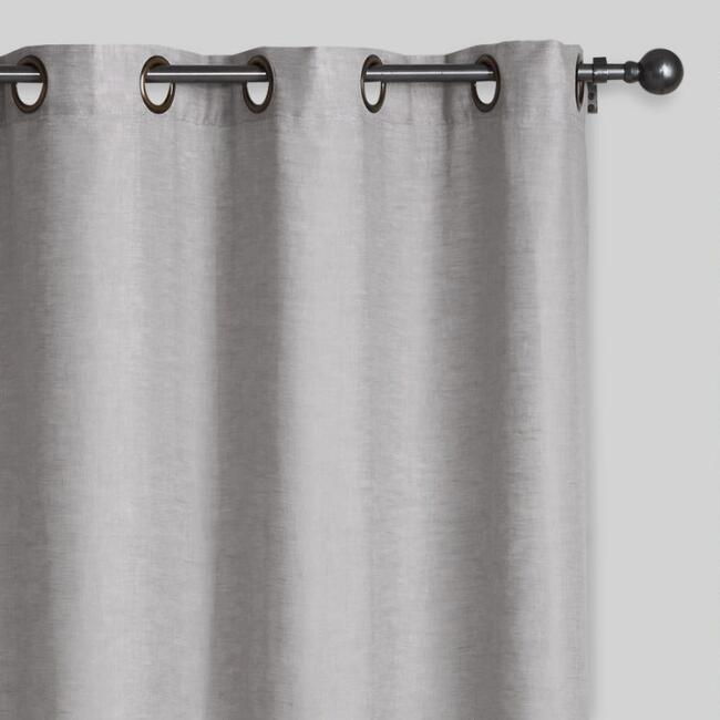 Slate Gray Linen Grommet Top Curtains, Set of 2