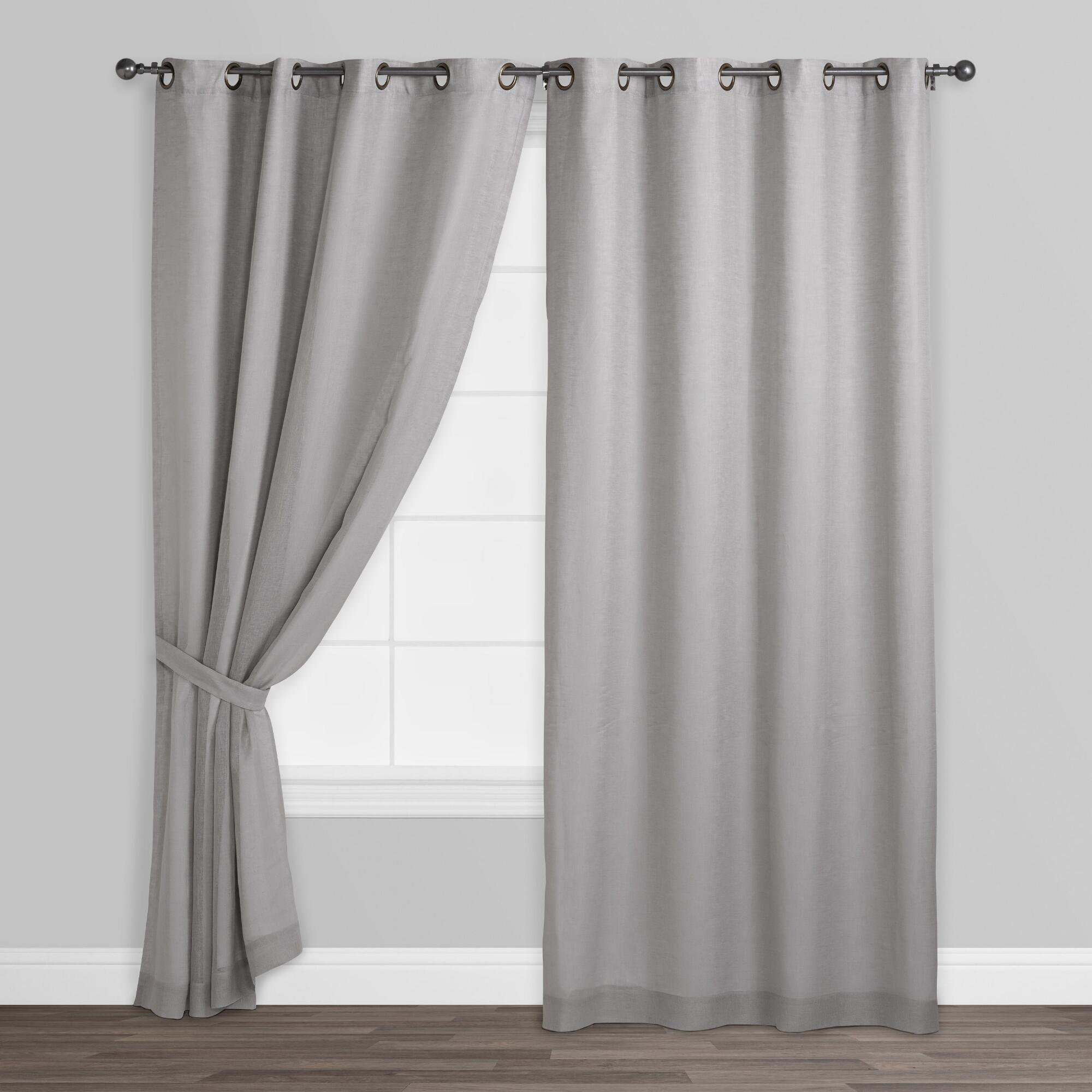 grommet grey panels solid gray linen top curtains size blackout dark piece sheer curtain pin inches polyester