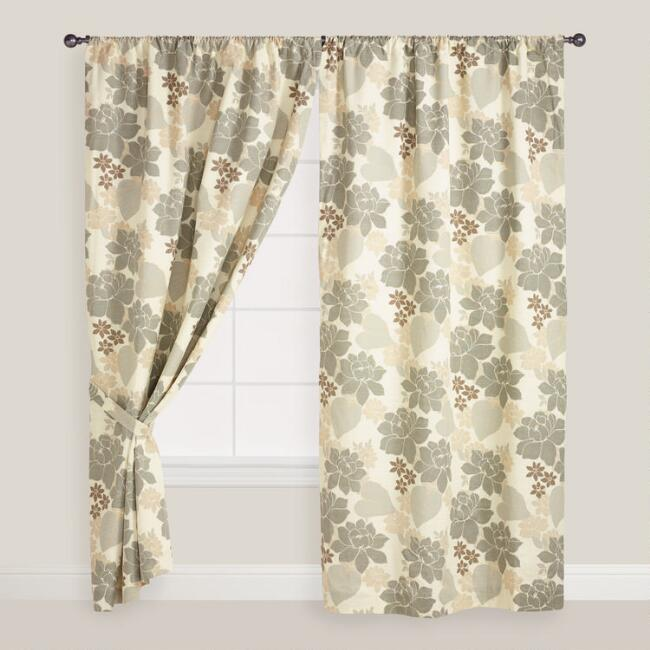 Gray Floral Gabrielle Sleevetop Curtain
