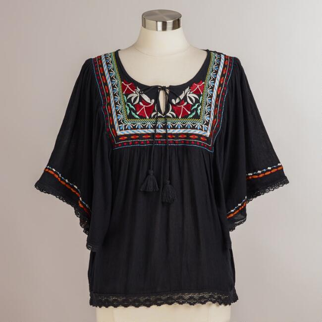 Black Embroidered Lola Top