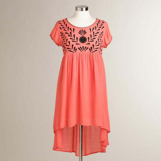 Coral and Black Embroidered Lydia Dress