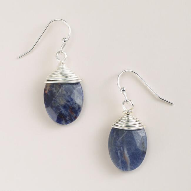 Silver and Sodalite Drop Earrings