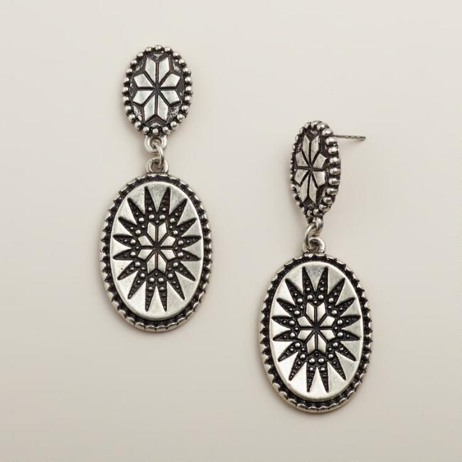 Silver Medallion Double Drop Earrings