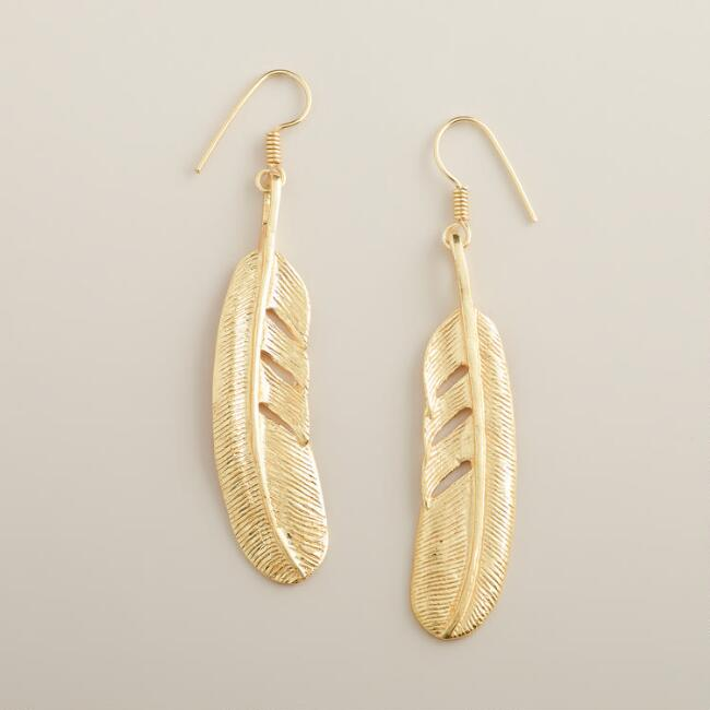 Gold Long Leaf Drop Earrings