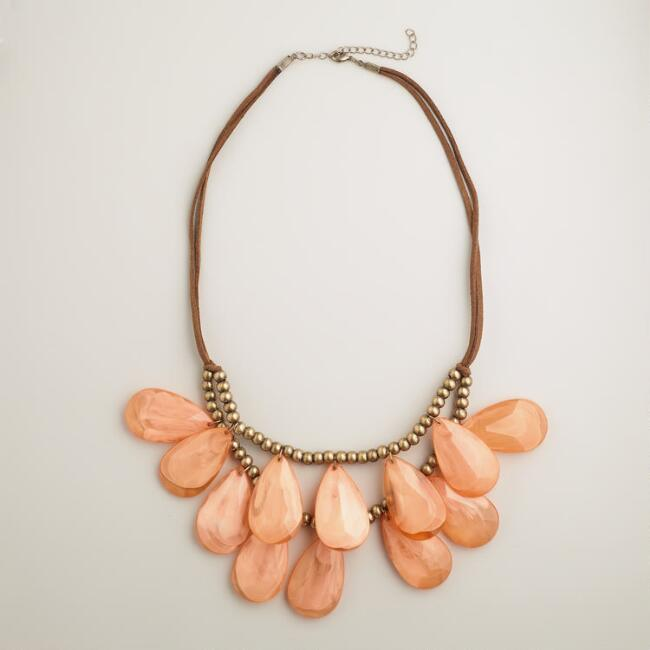 Coral Teardrop Suede Necklace
