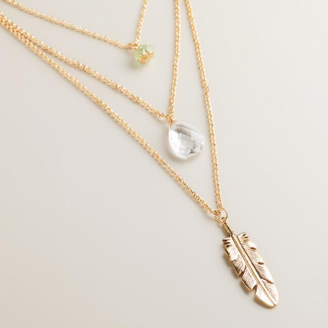 Gold 3-Layer Pendant Necklace