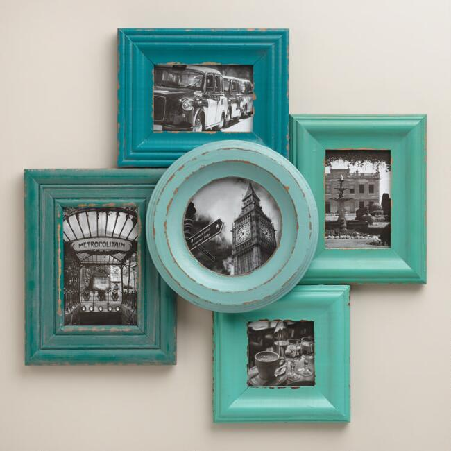 Blue and Aqua Morgan Frames, Set of 5