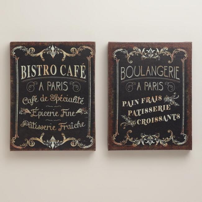 Parisian Signs, Set of 2
