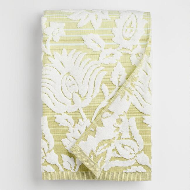 Cool Ombre Floral Sculpted Bath Towel