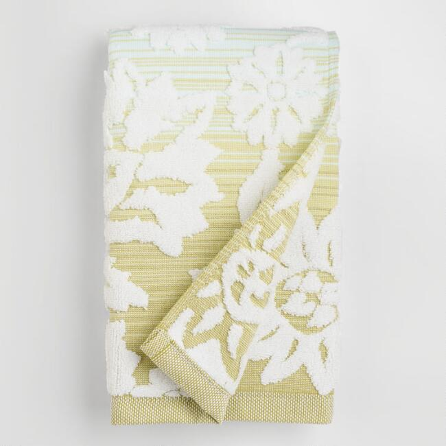 Cool Ombre Floral Sculpted Hand Towel