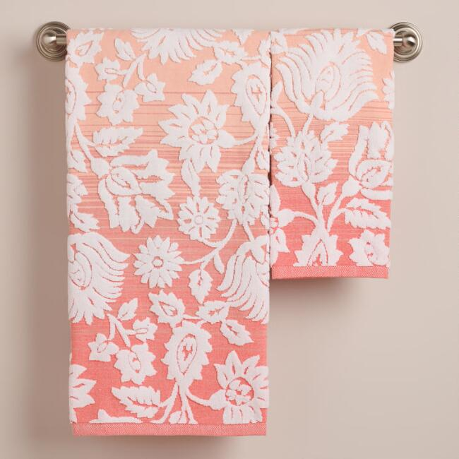 Coral Ombre Bliss Bouquet Sculpted Bath Towel Collection