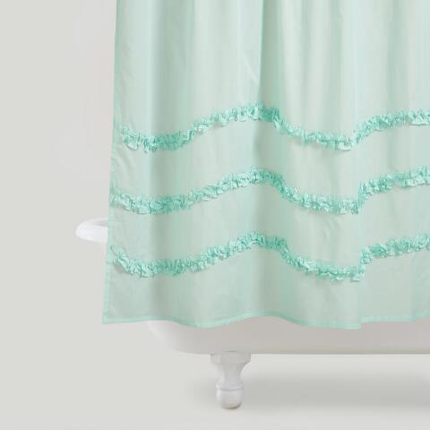 Harbor Blue Ruffle Shower Curtain Previous V3 V1