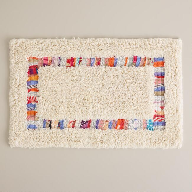 Ivory Nomad Recycled Fabric Bath Mat