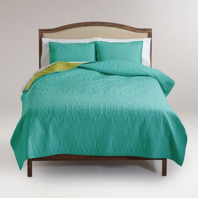 Turquoise and Oasis Green Simone Reversible Quilt